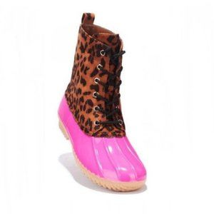 Pink Lace-up Faux Leather Duck Boots